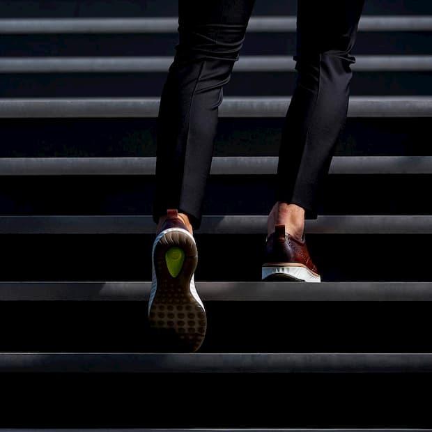 man walking in wide shoes