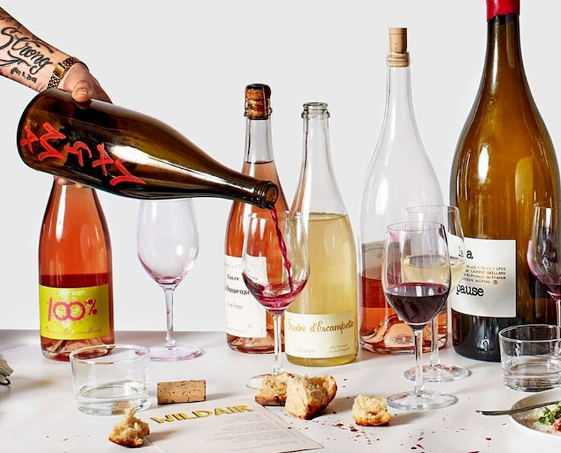 bottles with organic wine