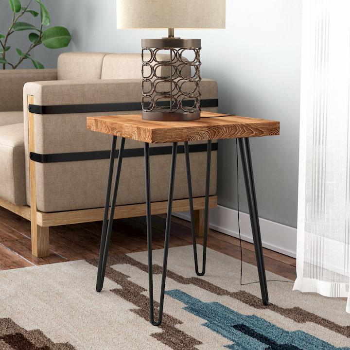 modern coffee table near armchair