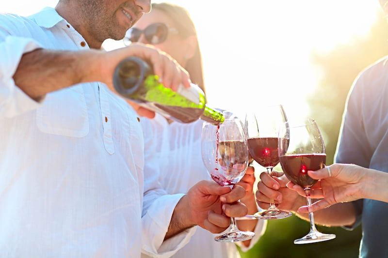 people drinking wine at an outdoor party