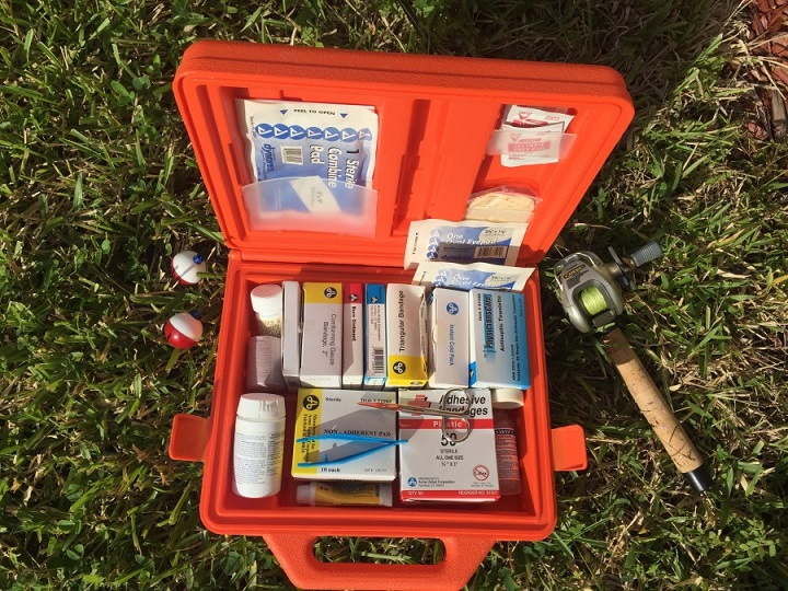 first aid kit in red box