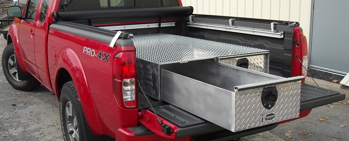 picture of a red truck with storage aluminum drawers in the back
