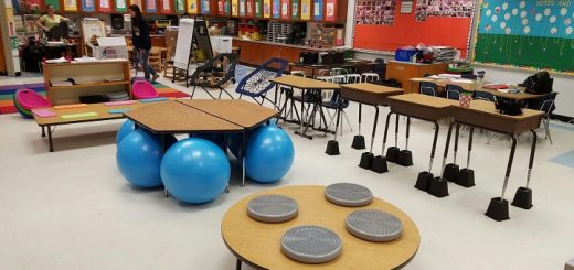 Classroom with flexible seating chairs