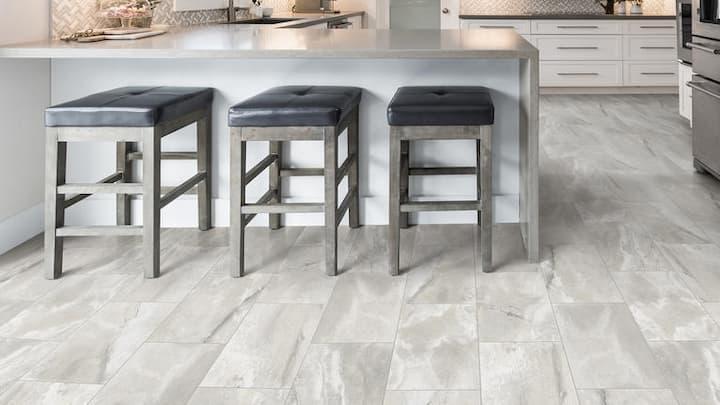 grey sheet flooring in kitchen