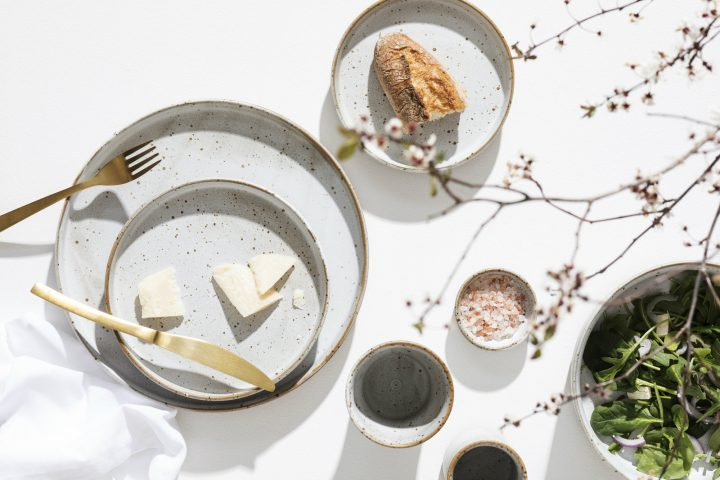 Morning Breakfast served with beautiful ceramic plates